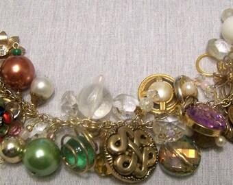 """Spring Spheres  Repurposed, Upcycled  OOAK 7.5 """"Vintage Charm Bracelet"""