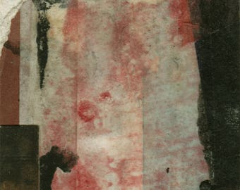 "Original abstrakte Papier-Collage ""Höhle"" 7x5 cm"