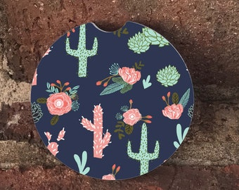 Navy Cactus car coasters/  Auto Car Coasters (set of2), Absorbent Sandstone Personalized Car Coasters (set of2) Gift Ideas