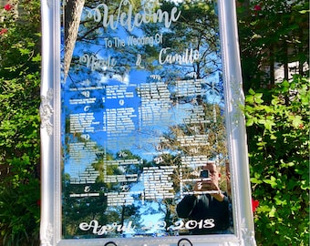 Wedding Seating Chart,Mirror Seating Chart,Wedding Sign