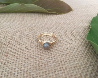Wire wrapped labradorite ring