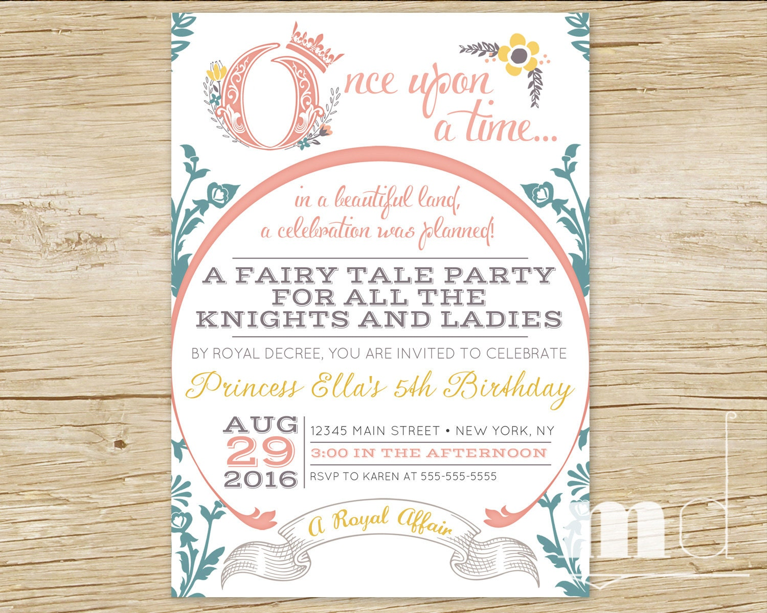 Once Upon a Time Birthday Invitations Fairytale Birthday