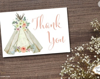 INSTANT DOWNLOAD - Teepee BohoThank You Card Boho Bohemian  - Watercolor Feather Dreamcatcher Thank You Note - Tribal - 0229 0330 0331