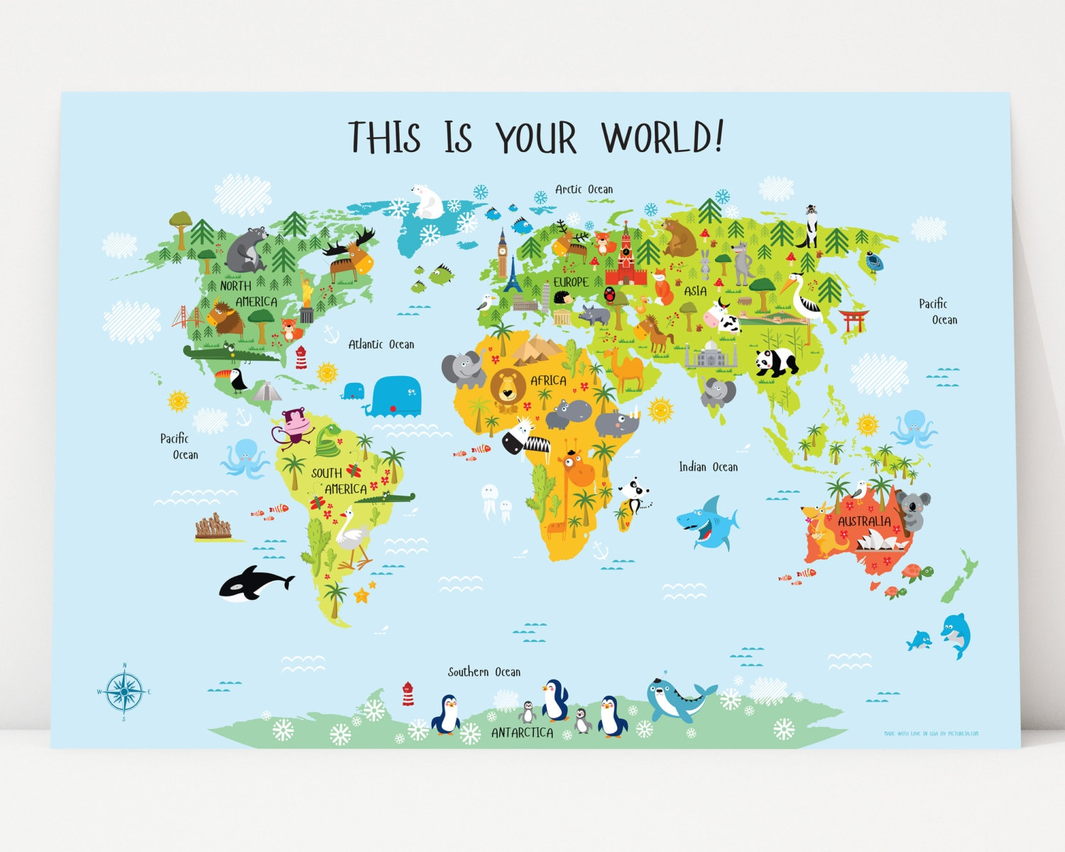 World Map For Kids Instant Download Nursery Decor High - Wall map children's room