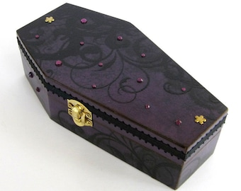 Halloween Coffin Box Purple and Black Halloween Decor Decoration Goth Gothic Jewelry Box Decorated Coffin Trinket Box