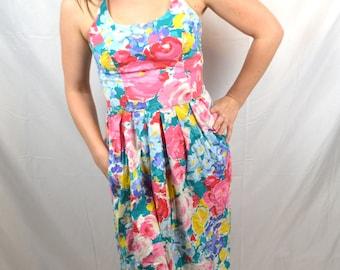 Vintage Floral Ruched Summer Sun Dress - Dash-About