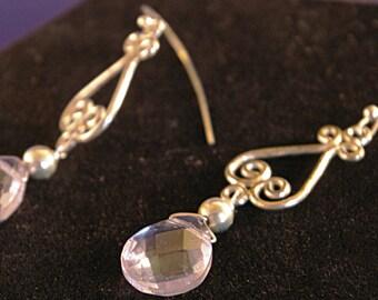Single Aquamarine Drop Earrings