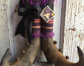 "Primitive Halloween Folk Art Witch Boots 12"" tall ~Shelf Sitters"