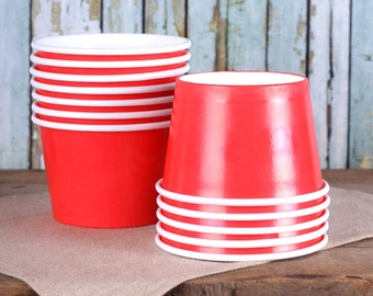 Large Red Ice Cream Cups, Red Ice Cream Bowls, Sundae Cups, Ice Cream Party Cups, Red Dessert Cups, 8 oz Ice Cream Party Cups (18)