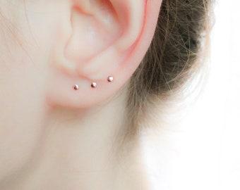 Tiny Rose Gold Earrings- Earrings Set- Stud Set Small Earrings- Rose Gold Earrings Studs 2 mm 3 mm 4 mm- Mix and Match Earrings Handmade