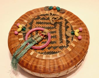 Vintage Asian Style Woven Sewing Basket