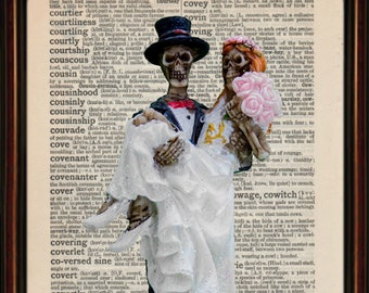 Skeleton Wedding Dictionary art print mounted vintage paper. The Bride And Groom . Till Death Do Us Part