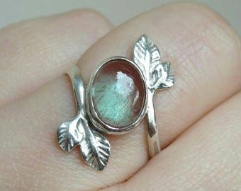 Silver Ring w Red Labradorite - Andesine Gemstone Sterling Silver Leaf Ring US7 - Red Labradorite Gemstone Ring with Leaves