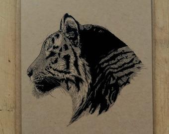 Temperate Tiger greetings card with kraft envelope, 10.5 x 15cm, tiger illustration, blank inside, cat card, tiger card