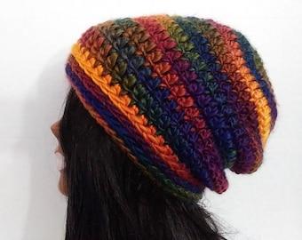 Adult Crochet Hat, Womens Beanie, Slouchy Beanie ,Slouchy Hat, Striped Hat,Winter Hat,Chunky Beanie