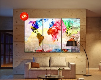 extra large world map  print on canvas wall art extra large world map artwork large world map Print home office decoration