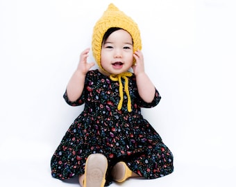 Crochet Bonnet | Toddler Pixie Bonnet | LUCY Bonnet | Baby Winter Bonnet | Mustard  Bonnet | Yellow Hat | Crochet Baby Bonnet