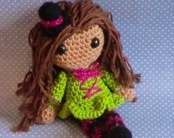 Trish the seampunk princess treak or treat halloween amigurumi crochet pattern