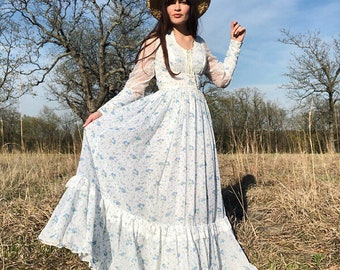 Vintage 70's Gunne Sax Calico Lace Maxi Prairie Dress Size 9 26 S