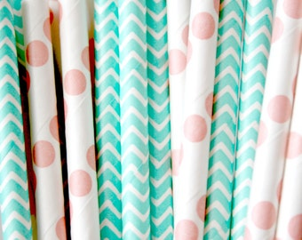 Paper Straws . Coral Dot Mint Chevron . bridal shower decorations / mason jar buffet table / wedding party decor