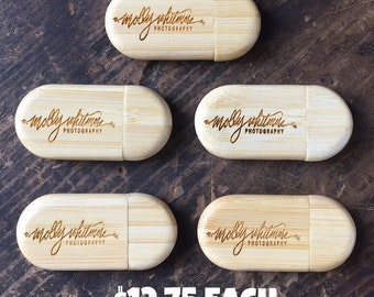 Set of 6 Personalized 8GB USB Drives, Engraved Zip Drives, Custom Thumb Drives, Wooden USB Drives, Bamboo Zip Drives