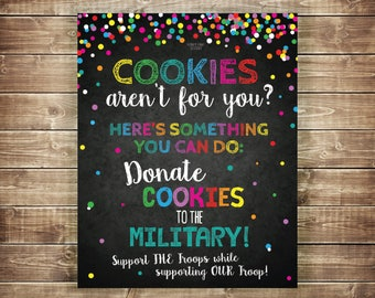 Donate Cookies to Military Troops Printable Cookie Drop Banner Scout Printable Cookie Sale If You Can't Eat 'Em Treat 'Em Cookie Booth Sign