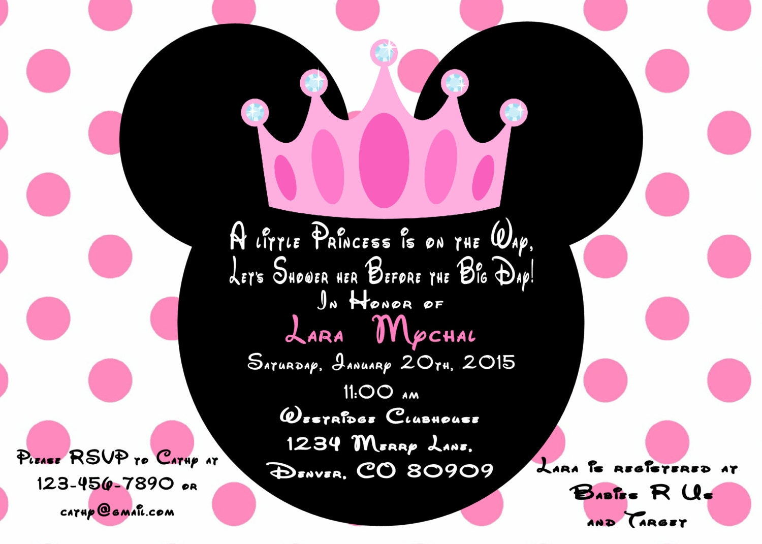 Minnie Mouse Princess Baby Shower Invitation Printed With