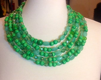 5 strand beaded necklace green