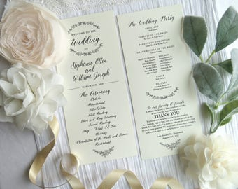 Wedding Program Template  | Ceremony program  |  Double Sided Programs - Style 03 - GARDEN COLLECTION