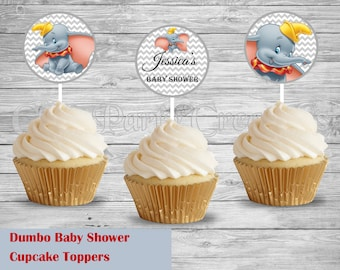 Dumbo Baby Shower/Happy Birthday Cupcake Toppers, Dumbo Favors