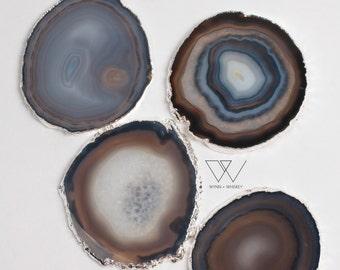 Blue Agate Coasters (srna757)- Silver Home & Bar Decor - Natural Geode Coasters Gilded Rim Edges - Coasters Home Decor - Drinkware Barware
