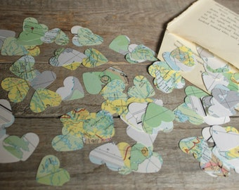 Confetti, Map Confetti, Table Scatters, Wedding Decorations, Atlas Confetti,Paper Confetti, Book Page Confetti, 200 mini hearts per package
