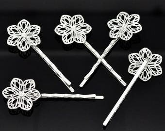 Set of 2 hair pins Bobby 6petales flower silver