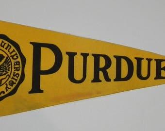 Vintage Purdue University Full Sized 29 inch Pennant - Antique College Memorabilia