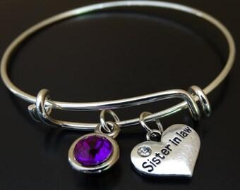 Sister in Law Bangle Bracelet, Adjustable Expandable Bangle Bracelet, Sister in Law Charm Bracelet, Sister in Law Pendant,Sister in Law Gift