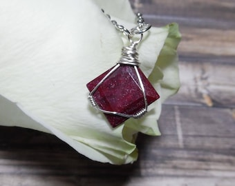 Ruby Necklace, Silver Ruby Jewelry, Delicate Gemstone Necklace, July Birthstone, Ruby Pendant, Mothers Day, Bohemian Jewelry
