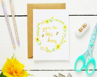 You're the Bee's Knees Postcard - Quote Art Print - Bee Print - Watercolour Print - Bee's Knees Print - Nursery Print - Bumblebee Print