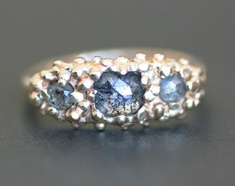 Salt and Pepper Diamond Three-Stone 14K Gold Ring - Rose-Cut Grey Blue Diamond Cushion Engagement - OOAK Organic Design (Size 6.5 or Resize)