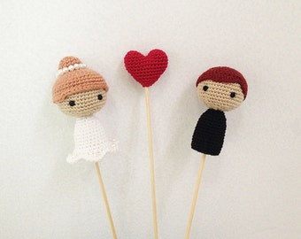 Cake Toppers - Bride and Groom Wedding Cake Topper - Cake Topper - Wedding Cake Toppers - Crochet Cake Topper