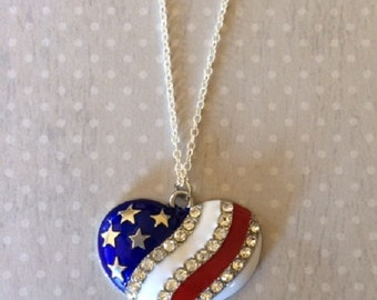 Patriotic Necklace - Partriotic Jewelry - American Flag Jewelry - American Flag Necklace - American Flag - Red White and Blue Jewelry - Flag