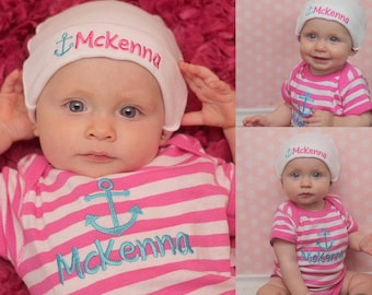 Baby Girl Clothes Newborn Girl Clothing Pink Striped Bodysuit Beanie Hat Embroidered Anchor Monogram Coming Home Outfit Baby Shower Gift