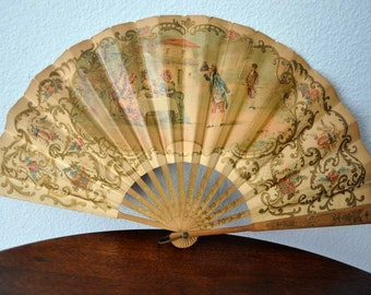 Antique Hand Held Fan, Hand Painted Delicate Paper Folding Fan, Pre-1901, Victorian Fan, Ladies Antique Fan,Bygone Era,Victorian Accessory