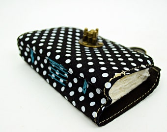 Small Leather Journal - Polka Dot leather and watercolor paper