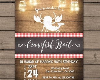 Crawfish boil invitation Crawfish party Seafood party County crawfish boil Surprise Birthday Adult Rustic wood PRINTABLE digital ANY AGE rlw