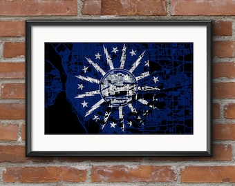 Buffalo Map Art Print – Flag // Buffalo Poster | Buffalo Art | Buffalo Print // Free Shipping