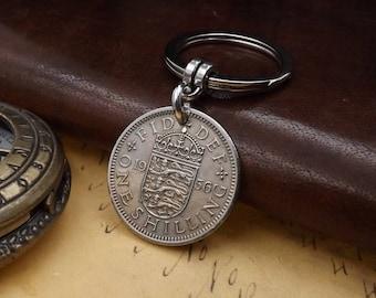 Genuine 1956 ENGLISH Shilling Keychain 62nd Birthday Gift
