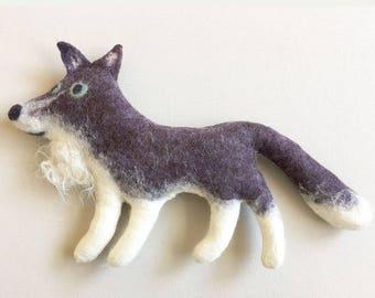 Felt Wolf, stuffed animal, handmade art toy, soft sculpture, stuffed animal companion, eco friendly, home or nursery decor
