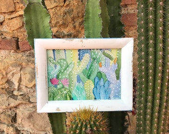 Original watercolor with shabby white frame-cactus forest No. 3