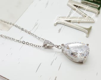 Classic Teardrop Crystal Necklace, Bridal, Bridesmaid Necklace gifts