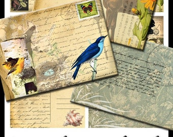 Vintage Postcards for Tags Scrapbooking Horses Birds ACEOs ATCs Backgrounds Digital Download Collage Sheet No. 16